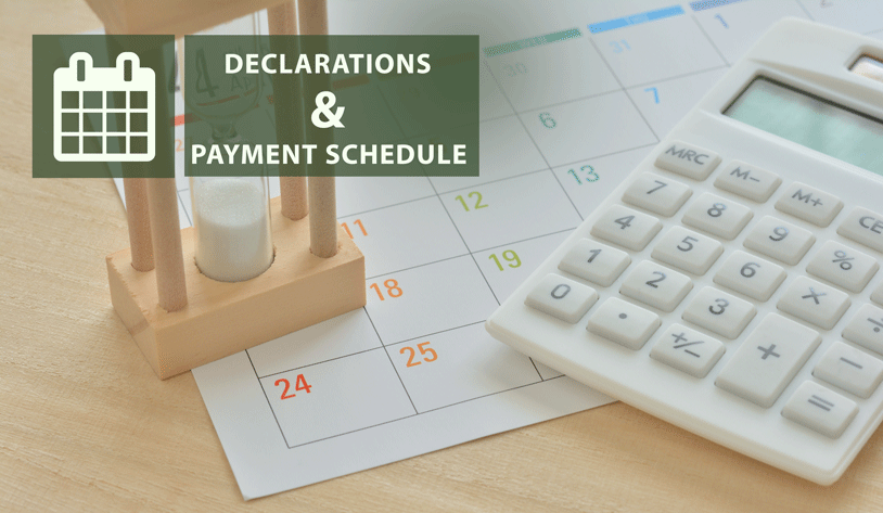 AMENDMENTS ON DECLARATION AND PAYMENT TERMS ON CERTAIN TAX DECLARATIONS